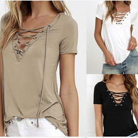 Womens Summer Bandage Cotton Top T-shirts +Necklace