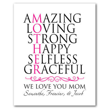 Personalized Mother's Day Wall Art - amazing loving strong happy selfless graceful - Typography - word art - Customizable