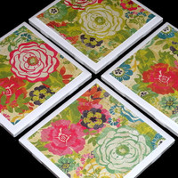 Coaster, Drink Coaster, Spring Coaster, Spring Gift, Spring Home Decor, Tile Coasters, Bright Flowers Printed Tile Coasters- Set of 4