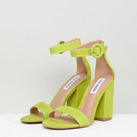 Steve Madden Friday Lime Suede Buckle Heeled Sandals at asos.com