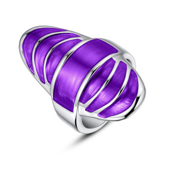 Stainless Steel Purple Epoxy Cocktail Ring