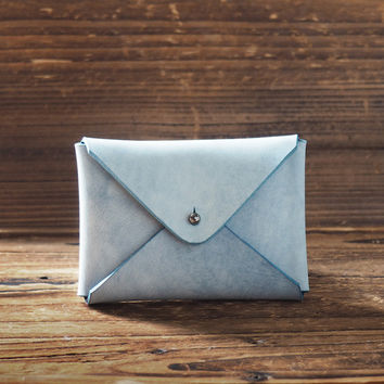 Leather Business Card Holder Coated with Wax #Blue