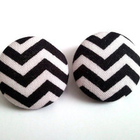 Large black and white chevron button earrings