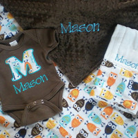 Baby Boy Gift Set - Owl Minky - Personalized Blanket, Onesuit and Burp Cloth
