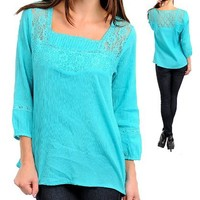 G2 Fashion Square Women's Lace Pleated Peasant Top