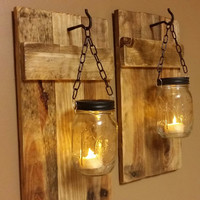 Mason Jar Candle Holder set of 2,  Rustic Candles,  Country Decor, Cabin Decor Rustic Sconces,