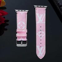 New 2019 LV Monogram Apple Watch Band - Pink & White
