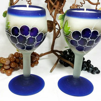 Repurposed Mexican Wine Glass Candles/Vino Grape Glass Candle/Winery Vineyard Home Decor/Cabernet Grape Scent (Lot of Two Glasses)