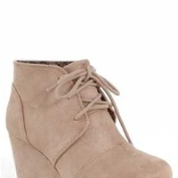 Gliks - City Classified Rex Suede Desert Wedges in Light Taupe
