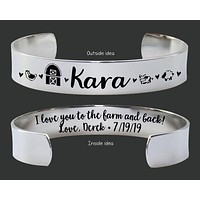 I Love You to the Farm and Back Cuff Bracelet