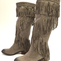 Not Like The Average Faux Suede Fringe Boot
