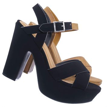 Sandbar99 Retro 70s Strappy Heel Sandals - Womens Sculpted Chunky Platform Shoes