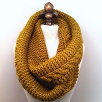 Chunky Infinity Scarf Loop Cowl - Golden Olive - MADE TO ORDER