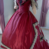 FOR ORDERS ONLY- Custom Made For You - 1860s Civil War Evening Dinner Ball Gown w/ Train 1800s Victorian Wedding Bridal Dress