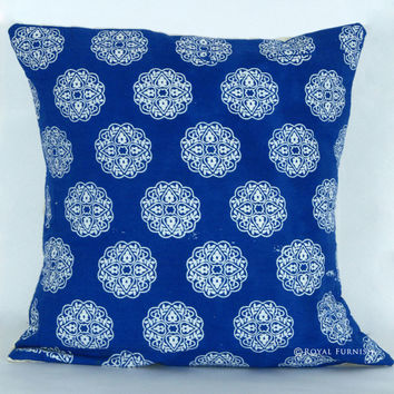 "16"" Inch Blue Indian Hand Block Floral Print Throw Pillow"