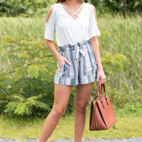 Cinched Sass Shorts, Sky Blue