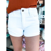 Kancan White Cuffed Shorts