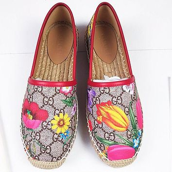 Gucci Shoes Women Fashion Print Sandals Floral Fisherman shoes rose red
