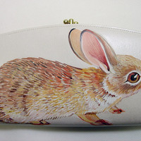Desert Cottontail rabbit flat clutch wallet, vintage opalescent cream vegan faux leather - one of a kind by NYhop - upcycled, asymmetrical