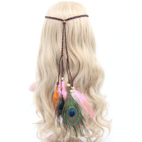 Bohemian peacock feather braided headband hair