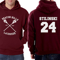 Beacon Hills Hoodie Lacrosse Hoodie Stilinski 24 on back
