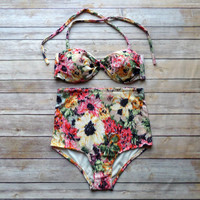 Twist Bandeau Bikini - Vintage Style High Waisted Pin-up Swimwear - Amazing Floral Print - Unique & So Cute!