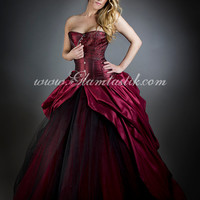 Size Medium Black and Red wine tulle Burlesque Corset Dress with hoop skirt