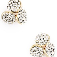 Clear Crystal Cluster Three Disk Earrings