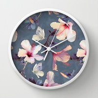 Butterflies and Hibiscus Flowers - a painted pattern Wall Clock by Micklyn