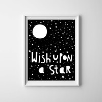 wish upon a star kids poster, kitchen art, nursery decor, kids room art, wall decor, kids art, wall art , kids room, nursery decor