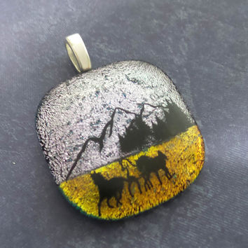 Horse Necklace, Silver and Orange, Black Horses, Mountains, OOAK Pendant, Fused Glass Pendant, Slide Jewelry - Montana--6