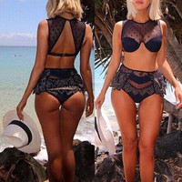 Women Sexy Off Shoulder Lace Bandage Bikini Set Swimwear Swimsuit Beachsuit = 1956988164