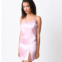 Retro Style Candy Pink Satin Chemise
