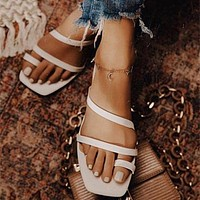 New summer flat shoes solid color thin strap flip flops