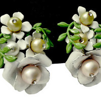 Vintage White Enamel Flower Earrings with Faux Pearls and Rhinestones, Floral Cluster Earrings,White and Green Clip Ons,Vintage Jewelry