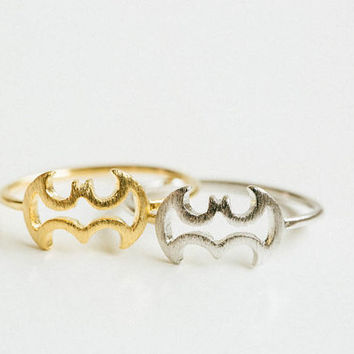 Line batman ring,animal ring,cute ring,couple ring,mens rings,womens ring,gold batman ring,unique ring,bridesmaid gift,jewelry rings,USADR66