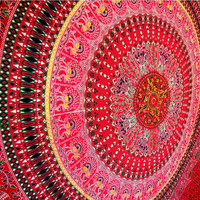 Red Peacock Indian Mandala Hippie Queen Wall Hanging Tapestry Throw Bedspread