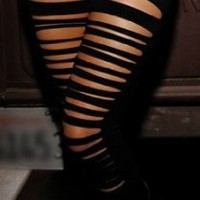 One Folter Clothing Cut-Up Leggings in Black- Small