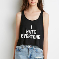 """I Hate Everyone"" Boxy, Cropped Tank Top"