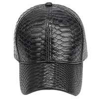 NiSeng Unisex Snakeskin PU Leather Baseball Hat Adjustable Snapback Cap Black