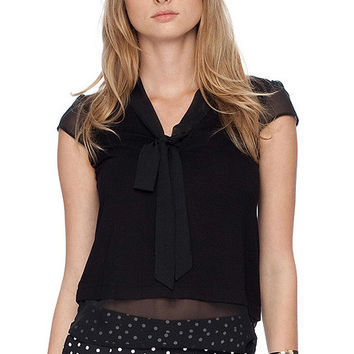 Black V-Neck Chiffon T-Shirt with Bow