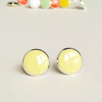 Yellow Earrings, Pale Yellow Stud Earrings, Flat Top Stud Earrings, 12 mm Stud Earrings, Cream Stud Earrings, Resin Jewelry, For Her