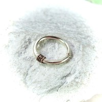 Gold Nose Ring with Gunmetal Hammered & Wrapped