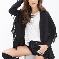 FOREVER 21 Fringed Shawl Cardigan Black