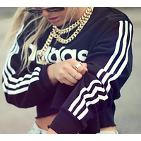 """Adidas"" Short Shirt Crop Long Sleeve Top Blouse Tunic Sweater Pullover"