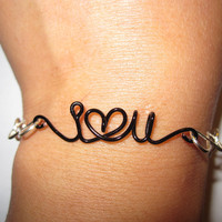 Love Infinity Bracelet Black Heart - I Love You Unique Gifts - Mixed Materials