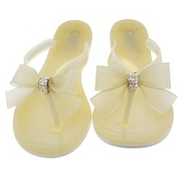 Flip Flop Sandals Jelly nude color with bow. Women and girls Sandals For Summer.