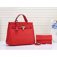 Hermes Hot Sale Classic Women Leather Handbag Tote Shoulder Bag Wallet Set Two Piece Red