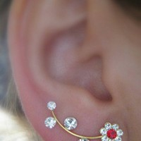 Ear Sweep Wrap - Cuff Earring with Swarovsky - Gold Filled - Daisy 2