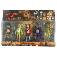 Five Nights At Freddy's Action Figure Toys Foxy Freddy Chica Freddy PVC model Dolls With LED Lights for kids toys